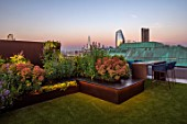 ROOF GARDEN, LONDON, DESIGNERS ANA SANCHEZ - MARTIN, LUCY WILLCOX - ROOF GARDEN, ASTROTURF, POWDER COATED ALUMINIUM SEATS, WALL, EUPHORBIA X MARTINII, AGASTACHE BLACK ADDER
