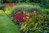 BELMONT HOUSE, SUSSEX - DESIGN ANTHONY PAUL: RED BORDER, LAWN, MONARDA CAMBRIDGE SCARLET, SALVIA HOT LIPS, ASTILBE, RODGERSIA