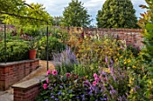 PRIVATE GARDEN, BERKSHIRE: DESIGNER ISTVAN DUDAS: WALLED GARDEN, SALVIA BLUE ANGEL, DAHLIA FASCINATION, BRONZE FENNEL, ACHILLEA GOLD PLATE, ALCEA ROSEA HALO WHITE, HALO BLUSH