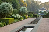 THE OLD VICARAGE, WORMINGFORD, ESSEX: DESIGNER JEREMY ALLEN - RILL GARDEN, WATER, PYRUS SALICIFOLIA, BUXUS, HYDRANGEA ANNABELLE, HEDGES, HEDGING