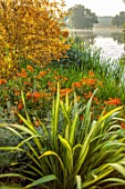 THE DOWER HOUSE, DERBYSHIRE: PHORMIUM, HELENIUM MOERHEIM BEAUTY, GRASSES, WATER, LAKE