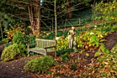 THE DOWER HOUSE, DERBYSHIRE: WOODLAND, STATUE, WOODEN BENCH, SEAT, HYDRANGEA ANNABELLE, WOODS, SHADE, SHADY, GREEN, WHITE, FLOWERS