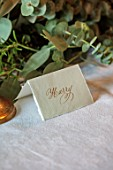 MARBURY HALL, SHROPSHIRE: DESIGNER SOFIE PATON-SMITH - DINING ROOM, CHRISTMAS, TABLE, GARLAND OF EUCALYPTUS, NAME TAG HAND WRITTEN BY DECEMBER